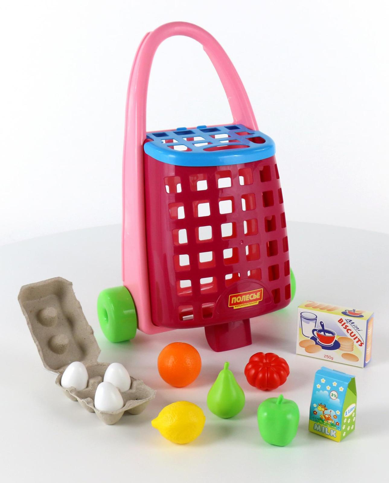 Фото - Тележка Полесье + набор продуктов, 11 элементов, цвет в ассортименте полесье набор игрушек для песочницы 468 цвет в ассортименте