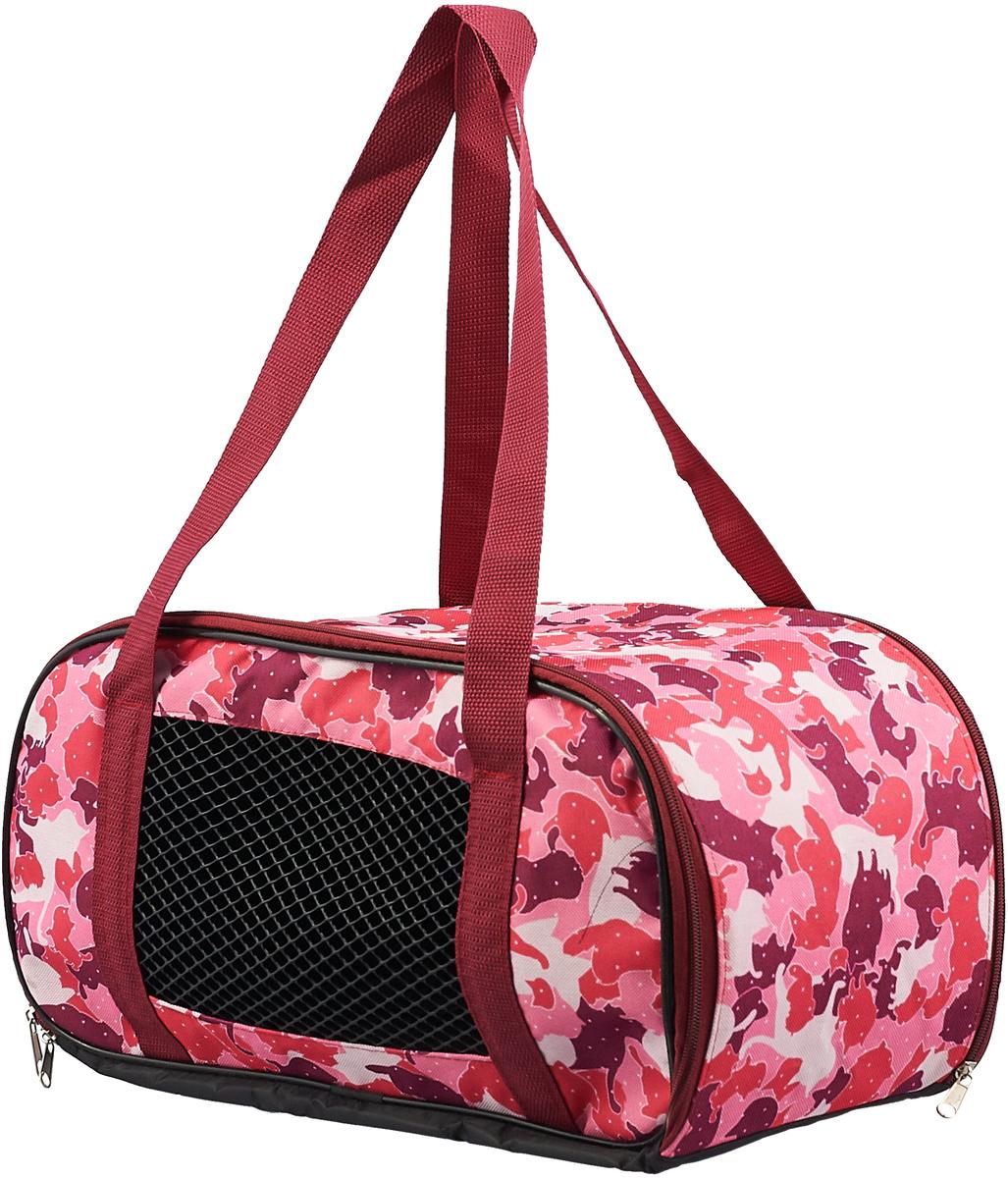 Сумка-переноска для животных Теремок, цвет: красный, розовый, 44 х 19 х 20 см переноска для животных fauna explorer sport цвет розовый серый 57 х 38 х 38 см