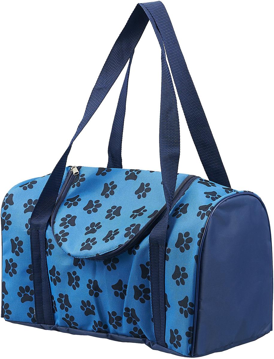Сумка-переноска для животных Теремок Лапки, цвет: синий, 38 х 20 х 22 см сумка переноска для животных elite valley батискаф с отверстием для головы цвет темно синий черный 37 х 14 х 16 см
