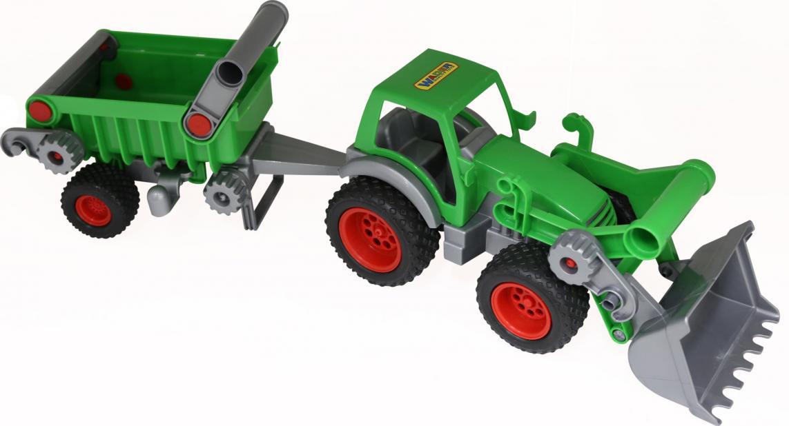 Трактор-погрузчик Полесье Фермер-техник, с полуприцепом, цвет в ассортименте трактор полесье трактор погрузчик умелец оранжевый 159238