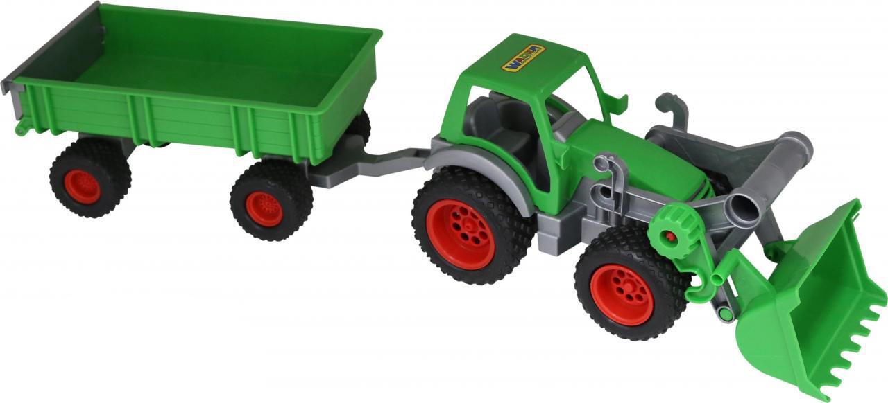 Трактор-погрузчик Полесье Фермер-техник, с прицепом, цвет в ассортименте трактор полесье трактор погрузчик умелец оранжевый 159238