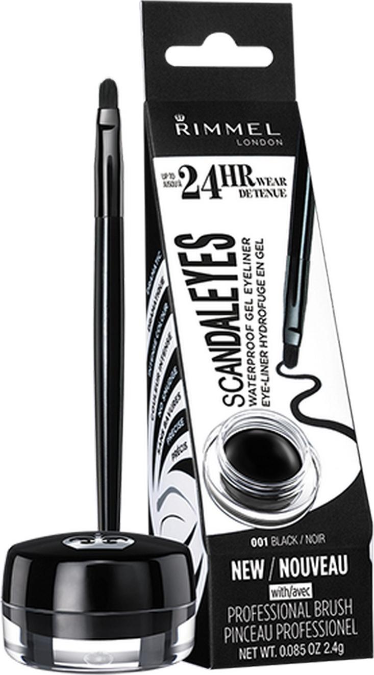 Гелевая подводка для глаз Rimmel Scandaleyes Waterproof Gel Eyeliner, водостойкая, тон 001, 2,4 мл подводка маркер для глаз rimmel scandaleyes micro eyeliner тон 001 1 1 мл
