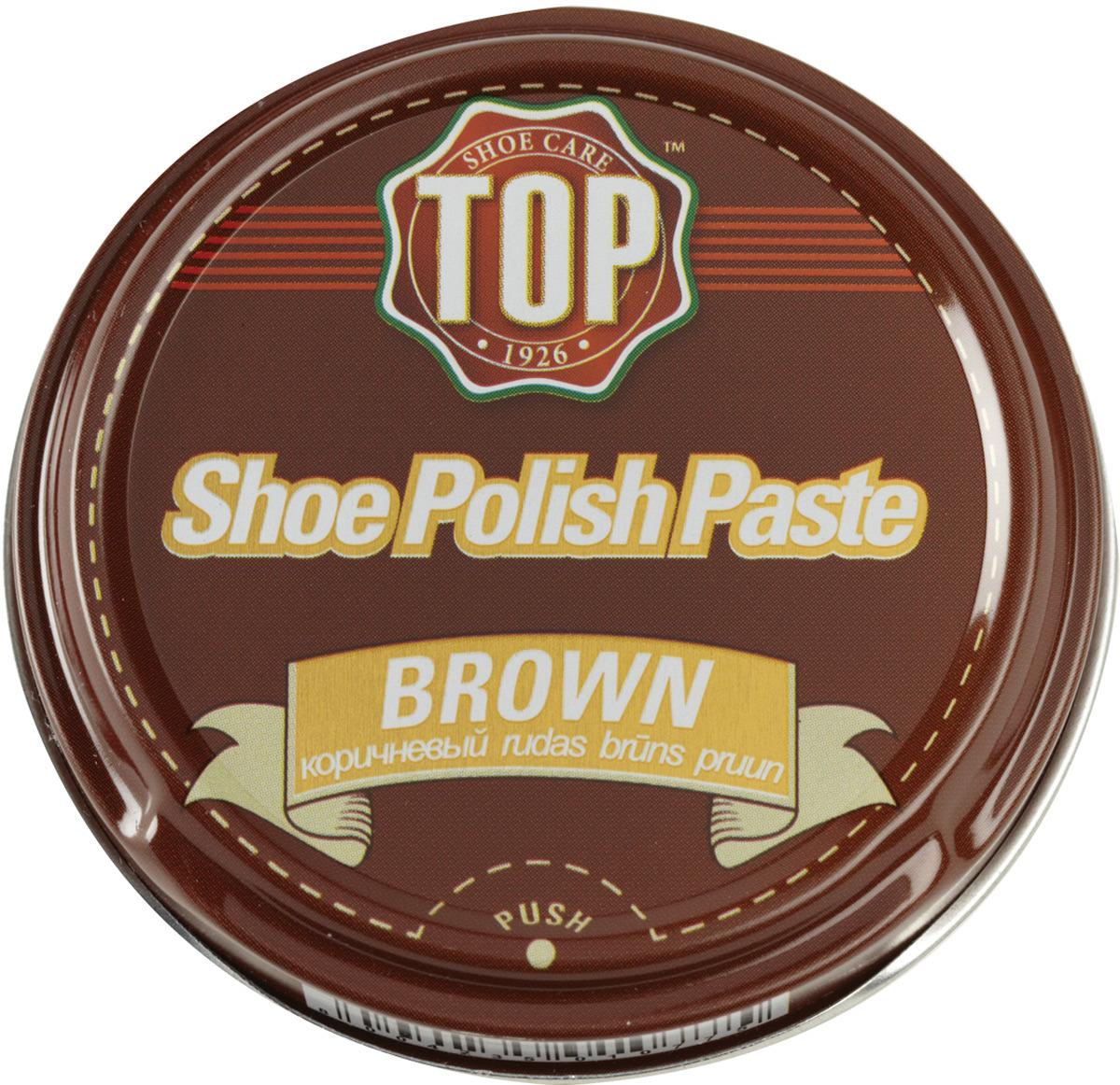 Крем для обуви TOP, цвет: коричневый, 50 мл крем для обуви эффектон макси цвет коричневый 100 мл