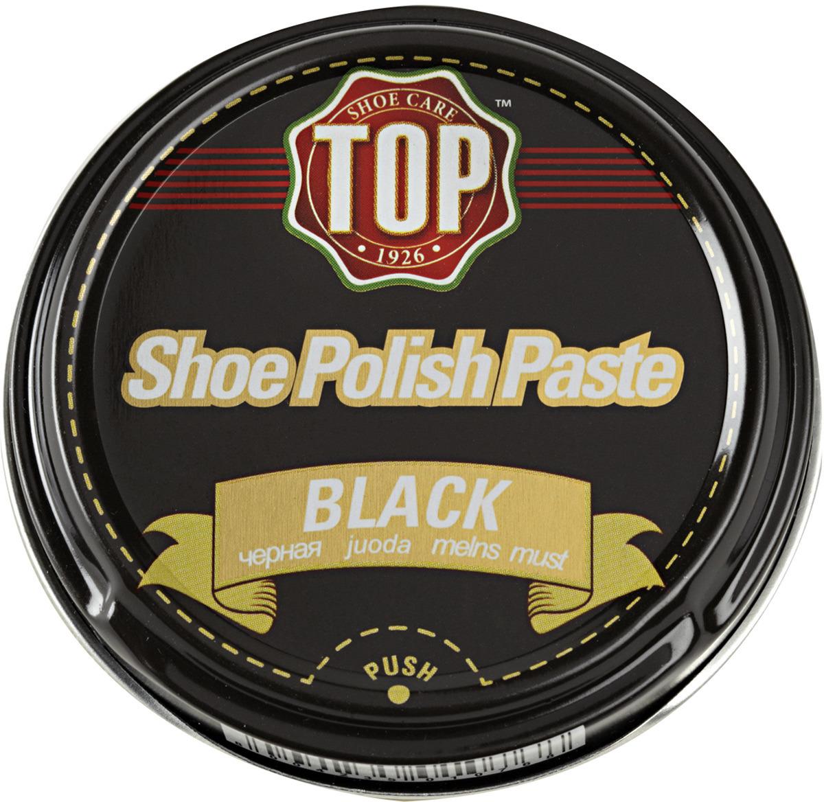 Крем для обуви TOP, цвет: черный, 50 мл жир для кожаной обуви centralin цвет бесцветный 150 мл уцененный товар 3