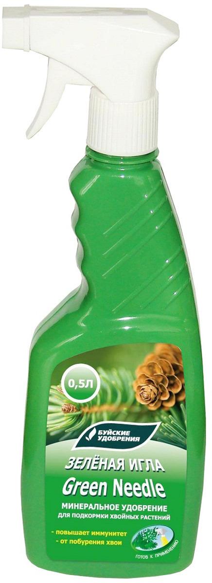 Удобрение Буйские удобрения Зеленая игла, жидкое, минеральное, для подкормки хвойных растений, спрей, 431161, 500 мл удобрение жк для открытого грунта для хвойных растений канис