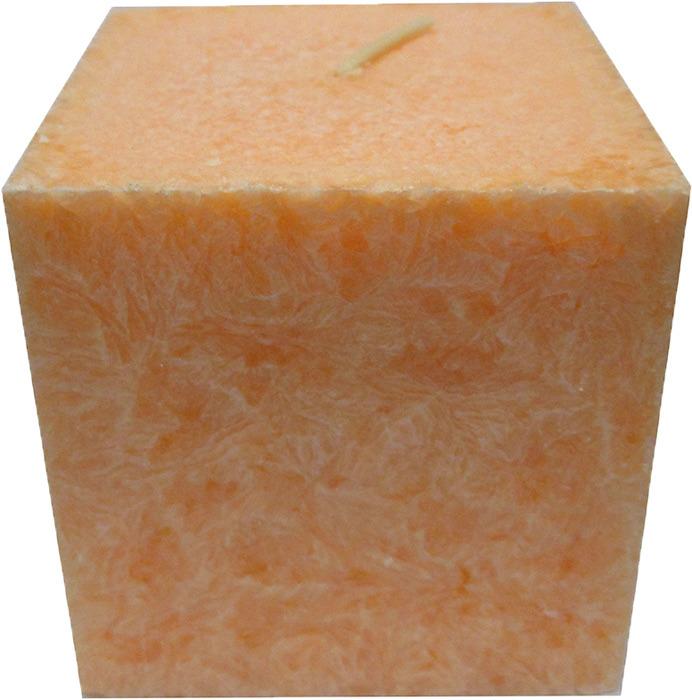 """Свеча ароматизированная Chameleon """"Куб"""", персик, цвет: оранжевый, 7,5 x 7,5 x 7,5 см"""