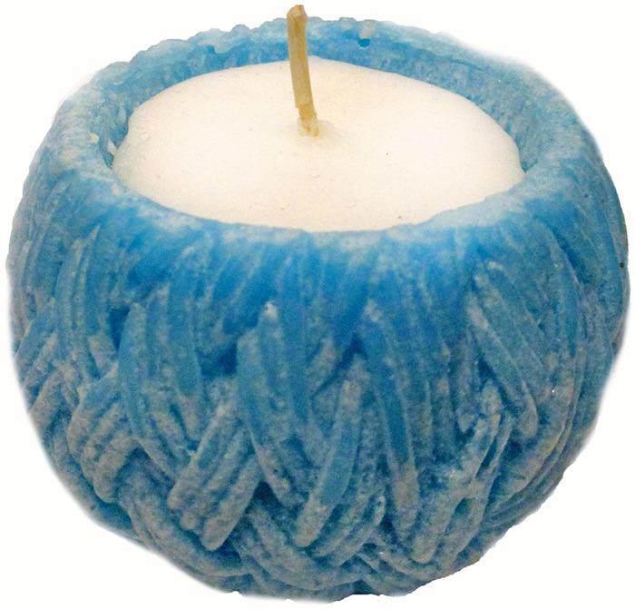 """Свеча вязаная Chameleon """"Семейный очаг"""", цвет: голубой, 7 x 5 x 7 см"""