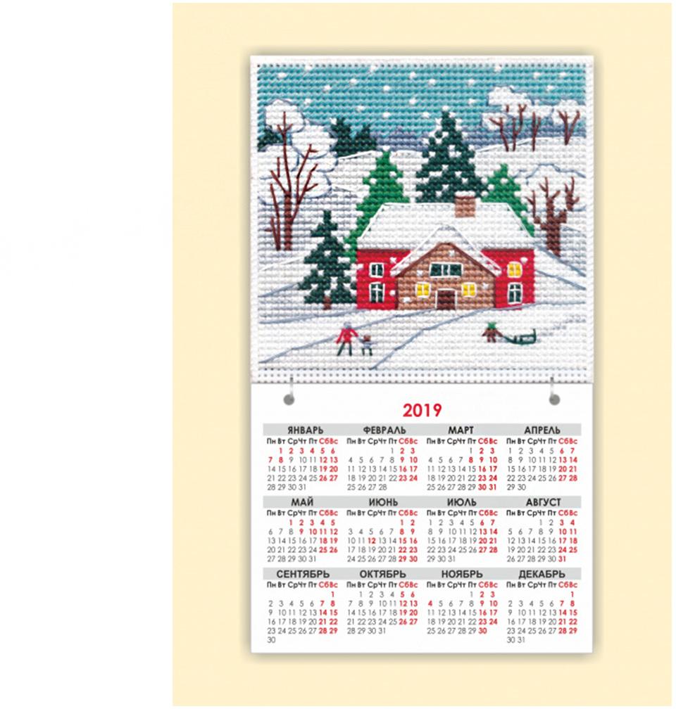 "Набор для вышивания магнит-календарик Овен ""Времена года. Зима"", 9,5 х 9,5 см"