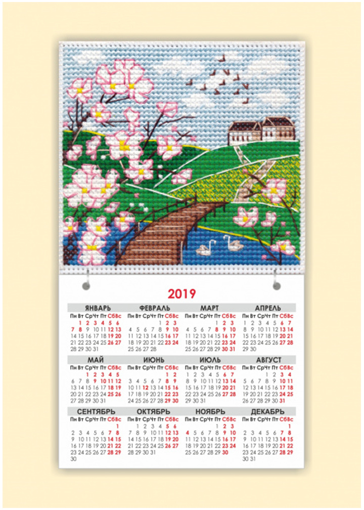 "Набор для вышивания магнит-календарик Овен ""Времена года. Весна"", 9,5 х 9,5 см"