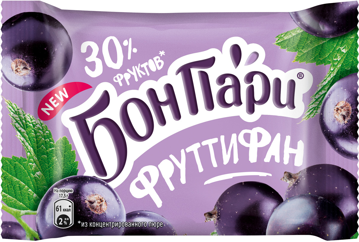 Мармелад Бон Пари Фруттифан, с черной смородиной, 42 г zaharni zavodi mentina жевательный мармелад со вкусом черной смородины и ментола 90 г