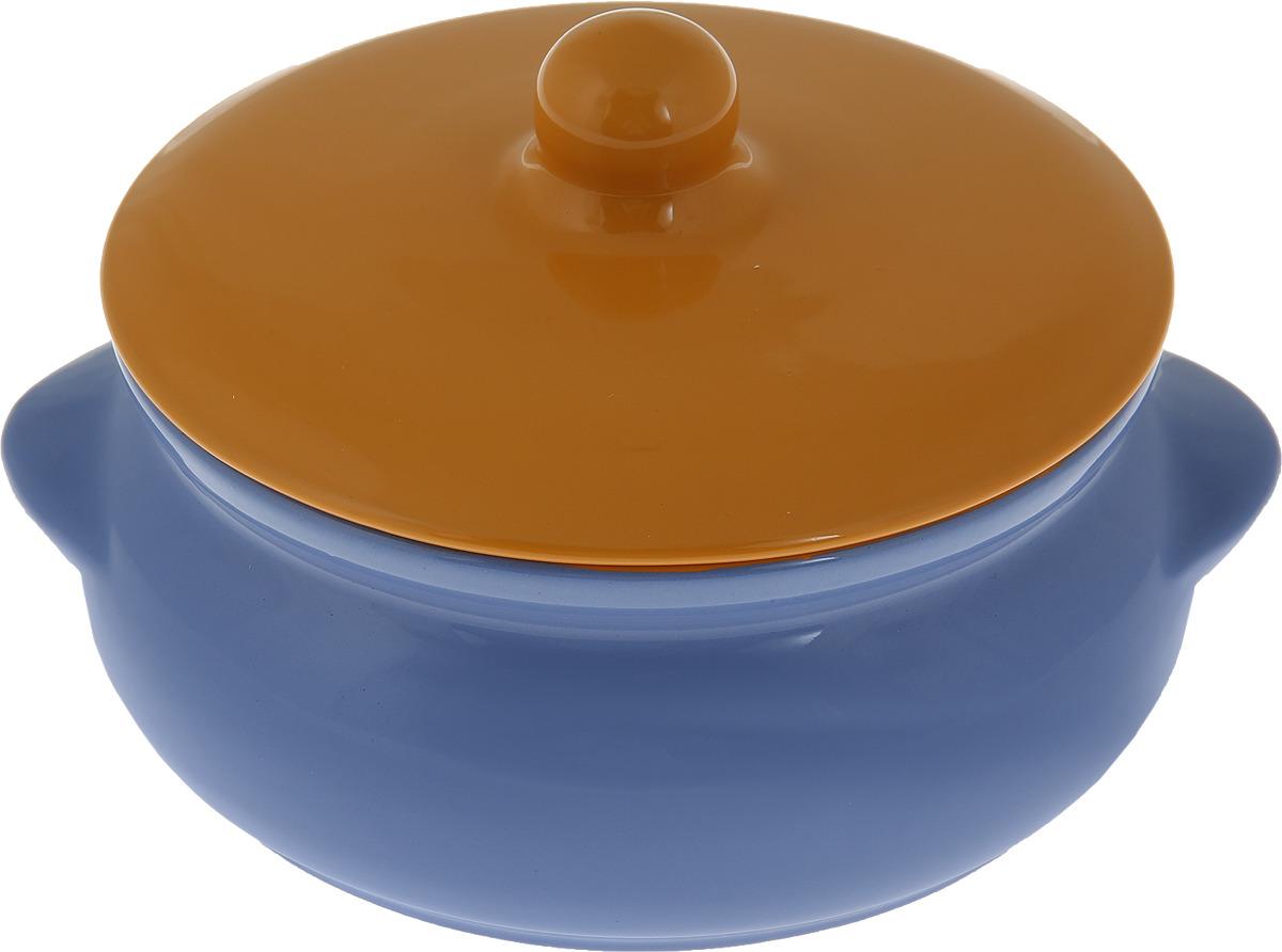 Горшок для запекания Борисовская керамика Радуга, с крышкой, цвет: синий, желтый, 700 мл набор горшочков для запекания борисовская керамика радуга цвет синий голубой желтый 650 мл 4 шт