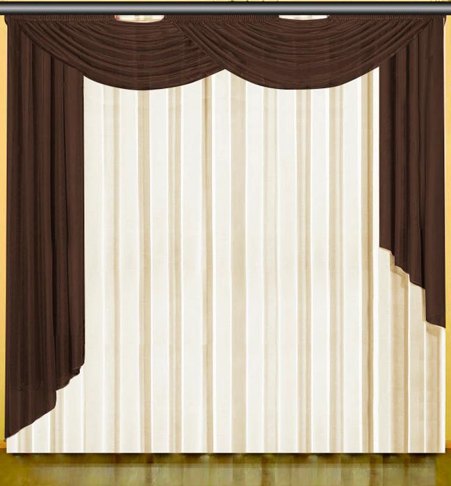 Комплект штор Zlata Korunka, с тюлем и ламбрекенами, на ленте, цвет: кремовый, коричневый, высота 270 см. 777126 комплект штор для кухни zlata korunka на ленте цвет белый коричневый высота 170 см 333311