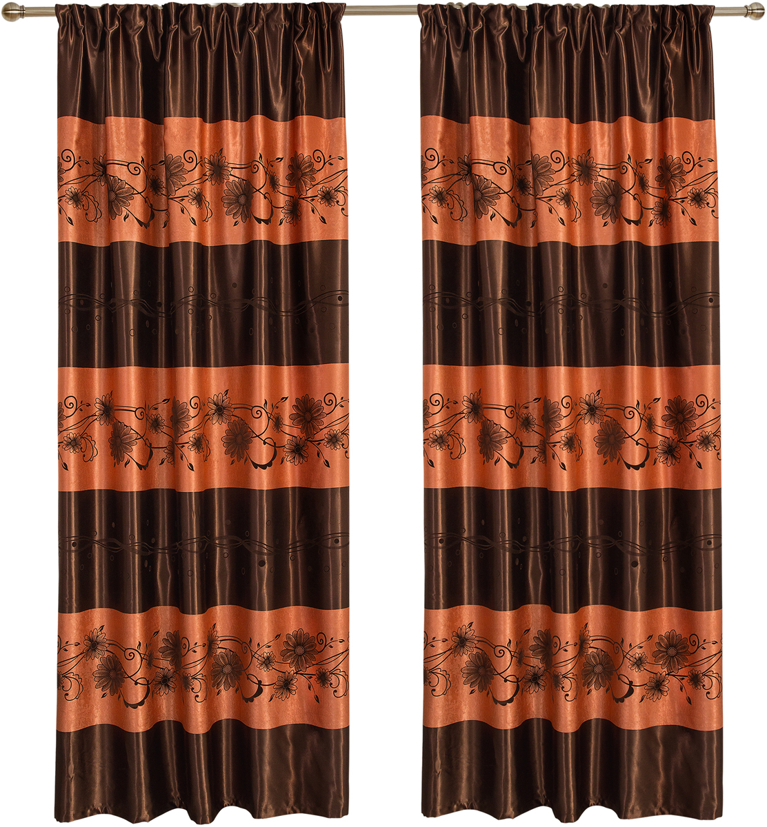 Комплект штор Zlata Korunka, на ленте, цвет: коричневый, высота 265 см. 777130777130Шторы блекаут, светонепроницаемые, крепление шторная лента.