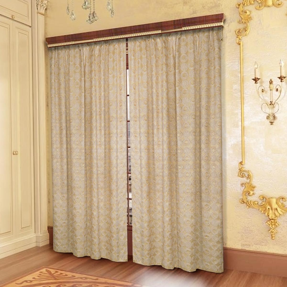 Комплект штор Zlata Korunka, на ленте, цвет: бежевый, высота 250 см. 777142 комплект штор для кухни zlata korunka на ленте цвет белый коричневый высота 170 см 333311
