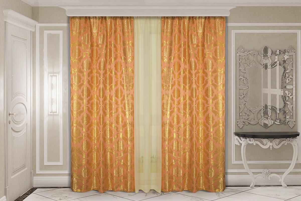 Комплект штор Zlata Korunka, с тюлью, на ленте, цвет: персиковый, высота 270 см. 777154 комплект штор для кухни zlata korunka на ленте цвет белый коричневый высота 170 см 333311