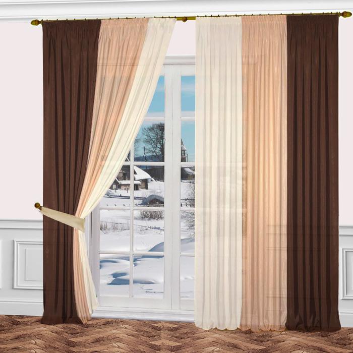 Комплект штор Zlata Korunka, на ленте, цвет: белый, коричневый, бежевый, высота 270 см. 777161 комплект штор для кухни zlata korunka на ленте цвет белый коричневый высота 170 см 333311