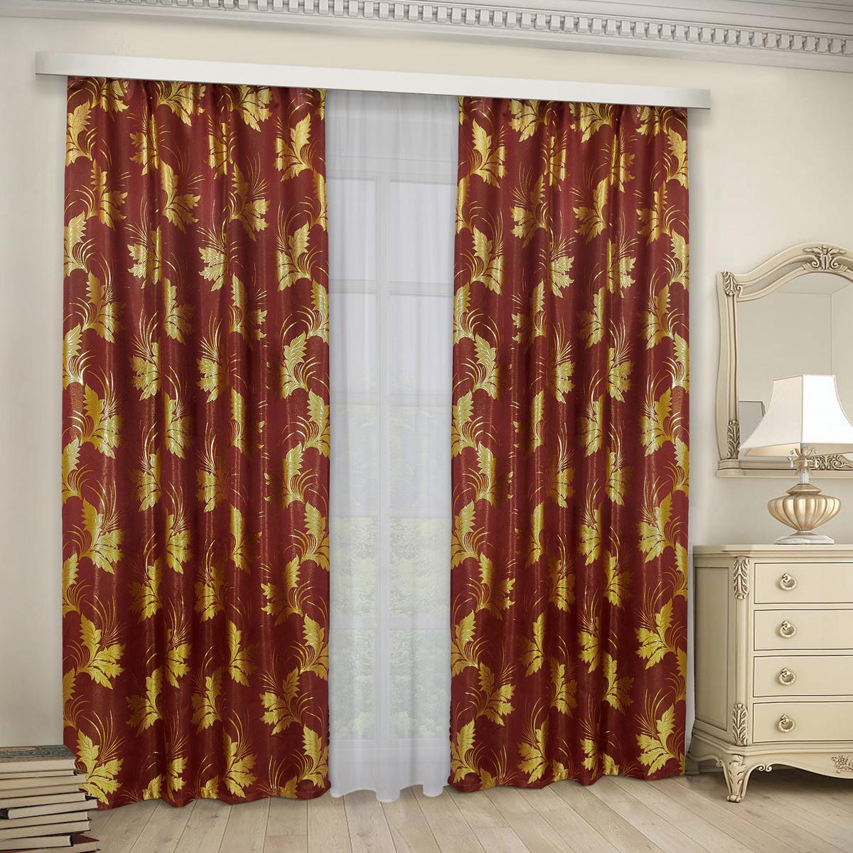 Комплект штор Zlata Korunka, с тюлью, на ленте, цвет: бордовый, высота 265 см. 777166 комплект штор для кухни zlata korunka на ленте цвет белый коричневый высота 170 см 333311