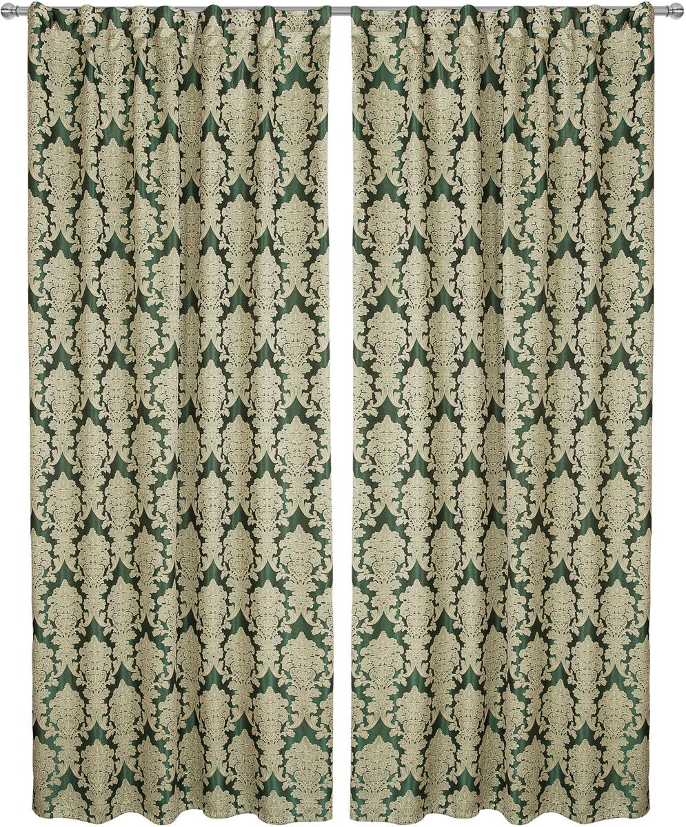 Комплект штор Zlata Korunka, на ленте, цвет: зеленый, высота 260 см. 777176 комплект штор для кухни zlata korunka на ленте цвет белый коричневый высота 170 см 333311