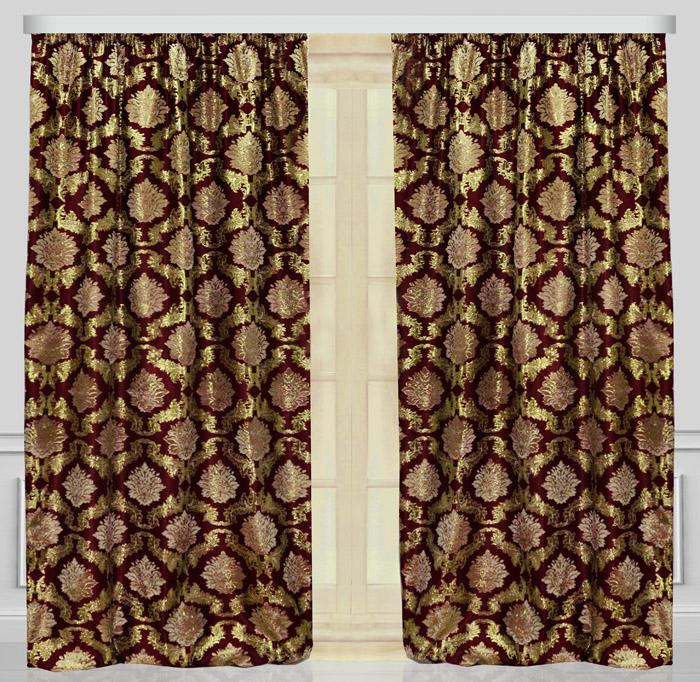 Комплект штор Zlata Korunka, с тюлью, на ленте, цвет: бордовый, высота 270 см. 777187 комплект штор для кухни zlata korunka на ленте цвет белый коричневый высота 170 см 333311