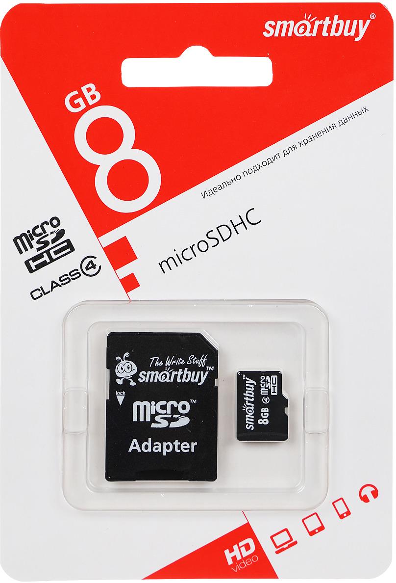 SmartBuy microSDHC Сlass 4 8GB карта памяти (с адаптером SD) карта памяти dell 8gb sd card only for idsdm g13 servers 385 bbid