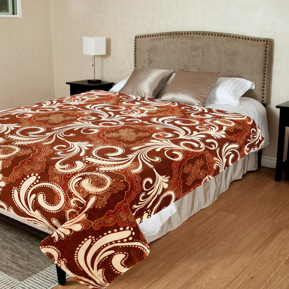 "Плед TexRepublic ""Узор"", цвет: коричневый, бежевый, 180 х 210 см"