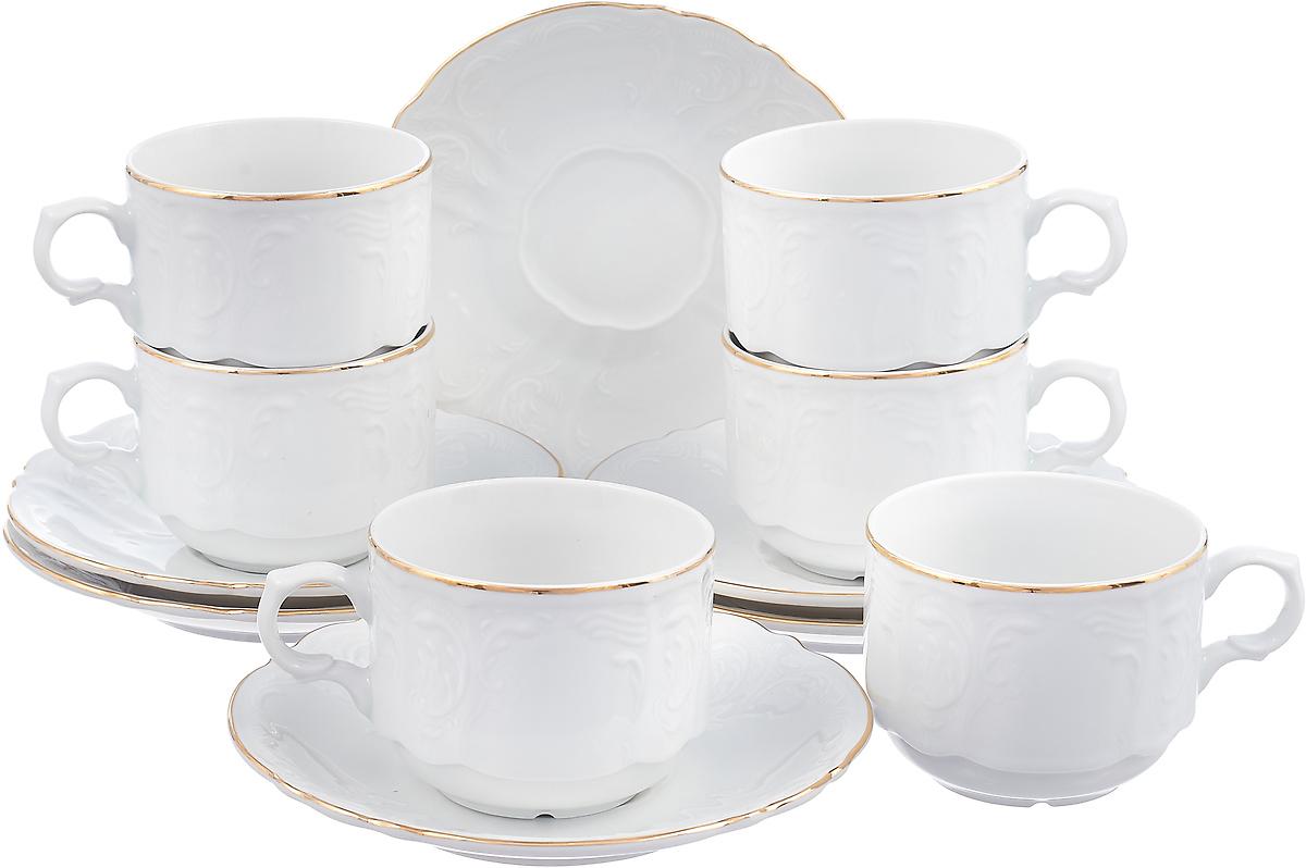 Набор чайный Bernadotte Узор, цвет: белый, 250 мл, 12 предметов. 14085 набор чайный 250 мл 6 пар bernadotte набор чайный 250 мл 6 пар