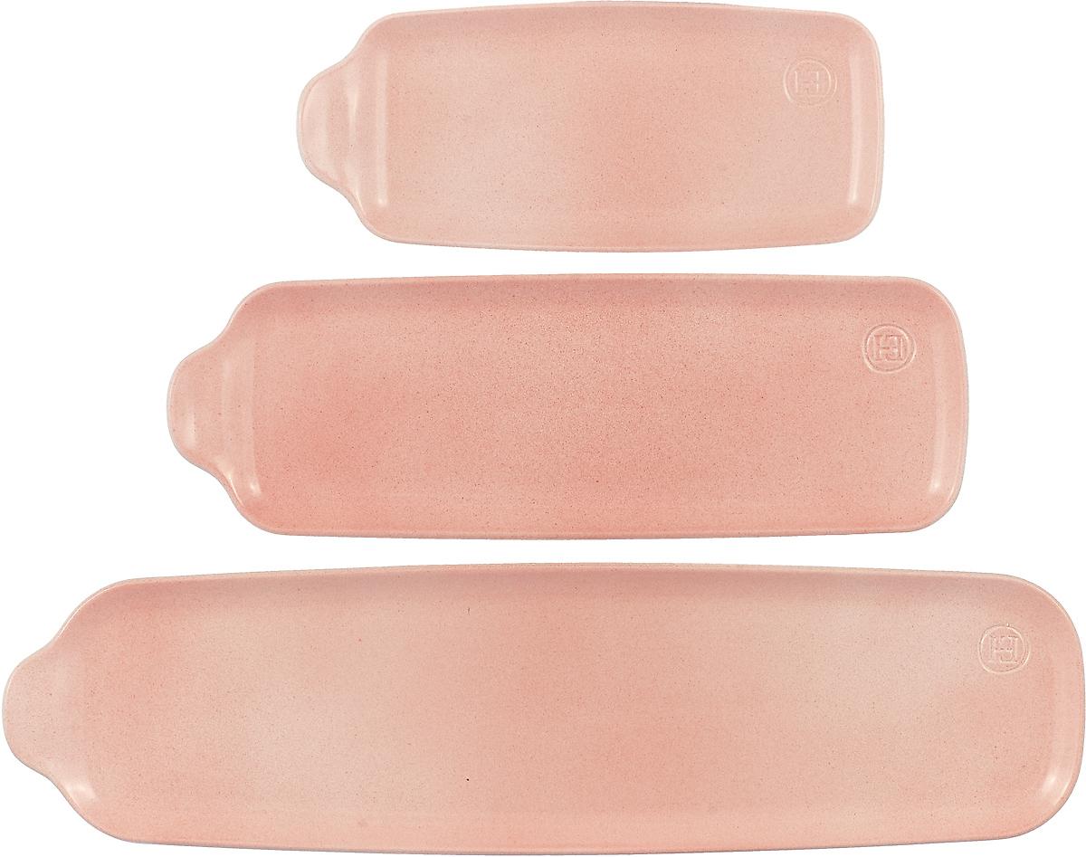 """Набор блюд Emile Henry """"Аперитив"""", прямоугольные, цвет: розовый, 3 шт"""