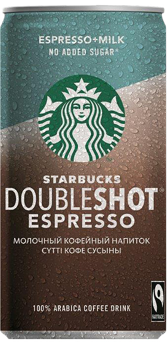 Молочный кофейный стерилизованный напиток 2,6% без сахара Starbucks Doubleshot Espresso, 200 мл starbucks doubleshot espresso молочный кофейный напиток 2 6% 200 мл