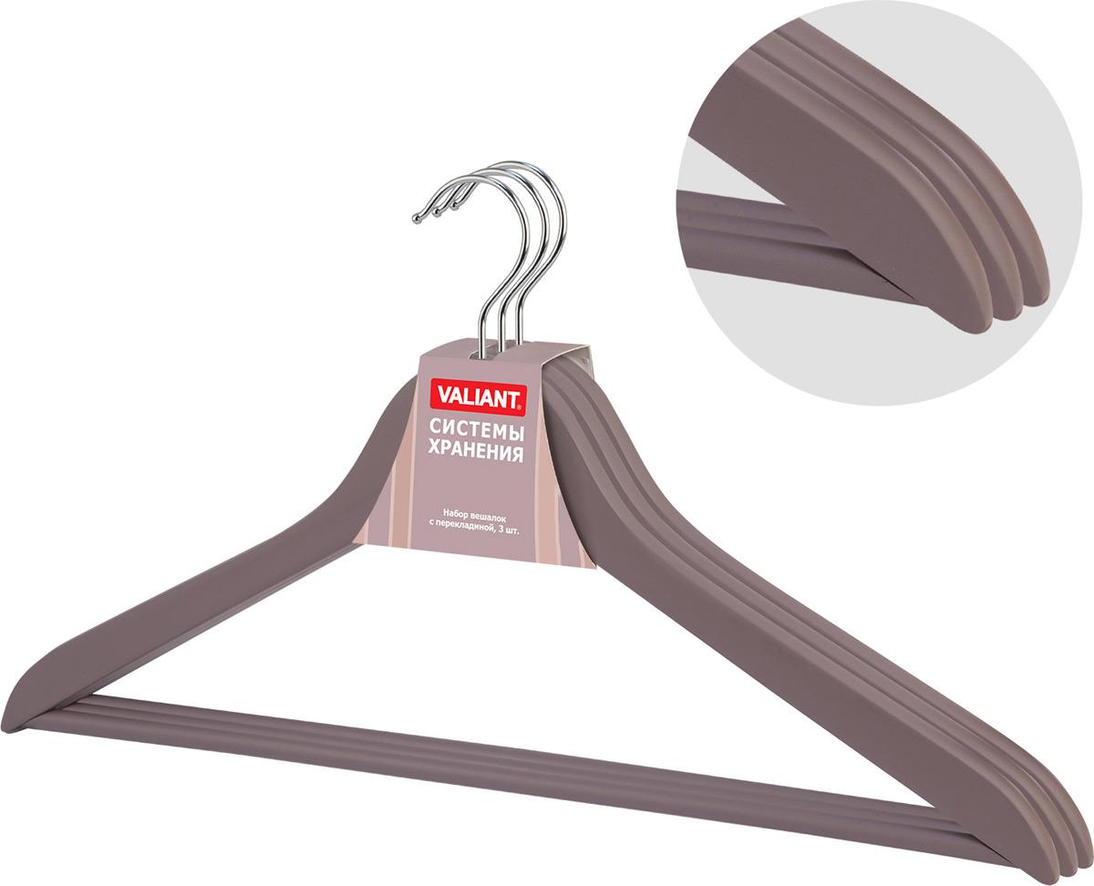 Вешалка Valiant Romantic, цвет: коричневый, 3 шт искусственные растения valiant муляж лук с перцем в связке желтый 60см шт