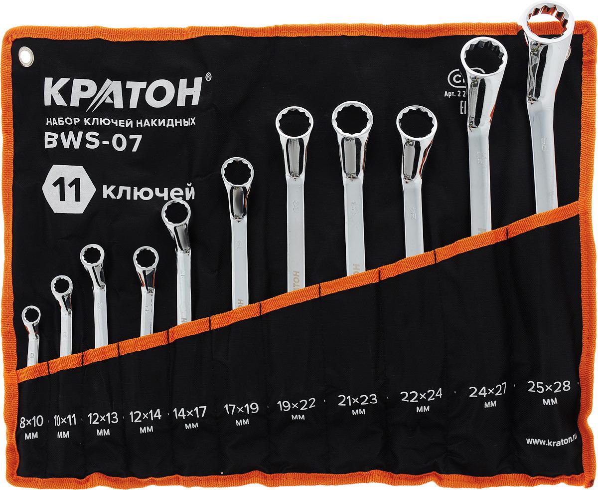 Набор ключей накидных Кратон BWS-07, 11 предметов набор накидных гаечных ключей в чехле 6 шт кратон bws 01 8 22 мм