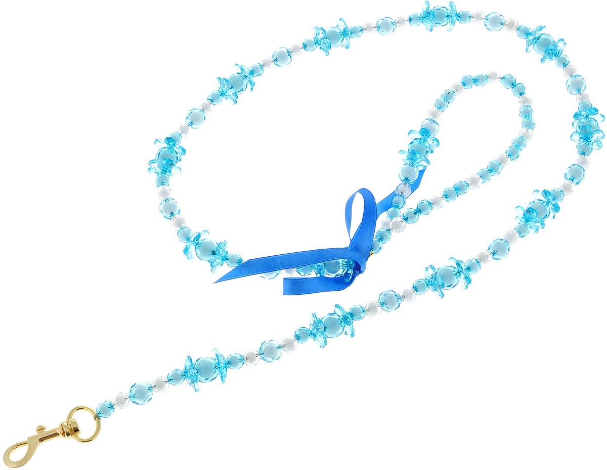 Поводок для собак Camon Бусы, цветочки, 120 см голубой бусы апатит голубой 45 см