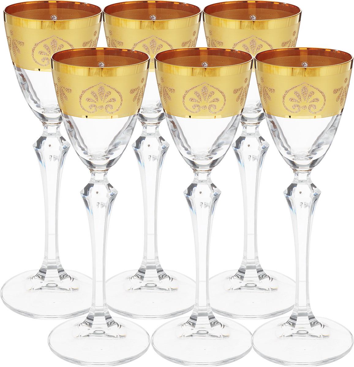 Набор рюмок для водки Bohemia Crystal Золото, 70 мл, 6 шт. 18506 набор рюмок для водки bohemia crystal виктория кристалекс 50 мл 6 шт 21005
