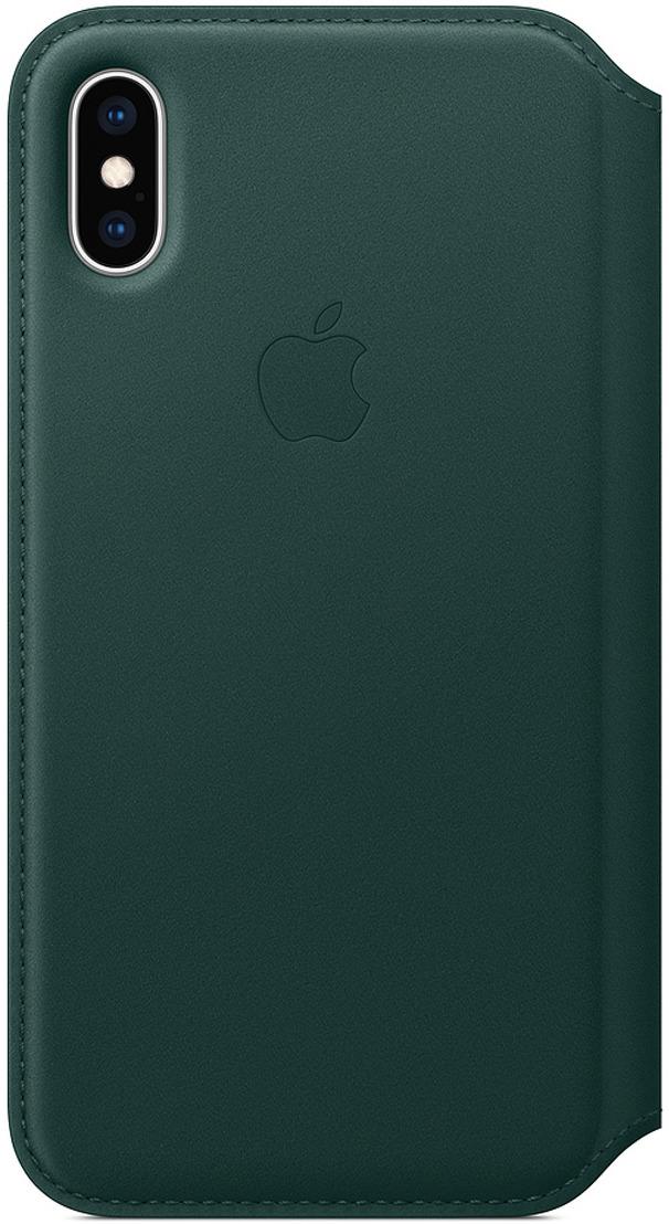 Чехол Apple Leather Folio для iPhone XS, Forest Green цена в Москве и Питере