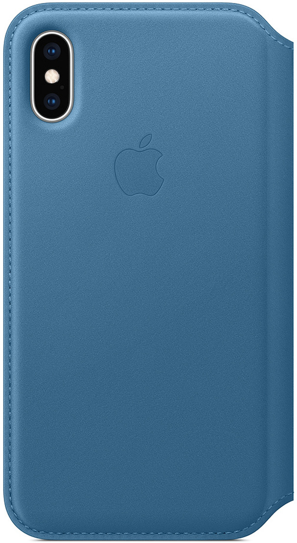 Чехол Apple Leather Folio для iPhone XS, Cape Cod Blue