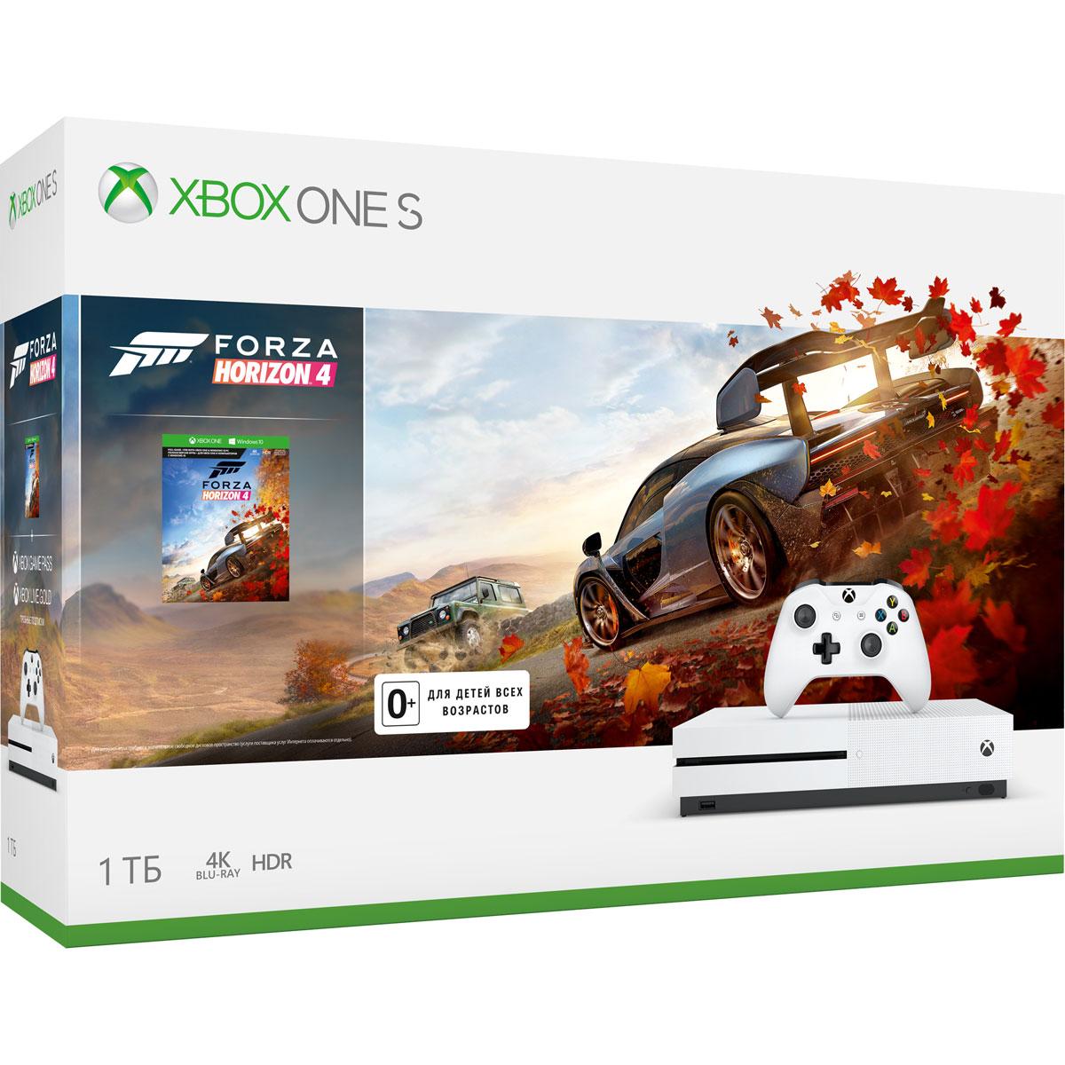 Игровая приставка Xbox One S 1 ТБ, White + Forza Horizon 4 (234-00562) игровая консоль microsoft xbox one s 1 тб [234 00311] игра playerunknown s battlegrounds