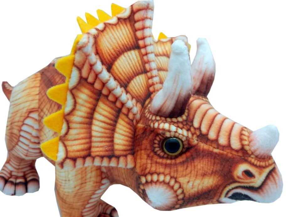 Мягкая игрушка АБВГДЕЙКА Динозавр Трицератопс коричневый