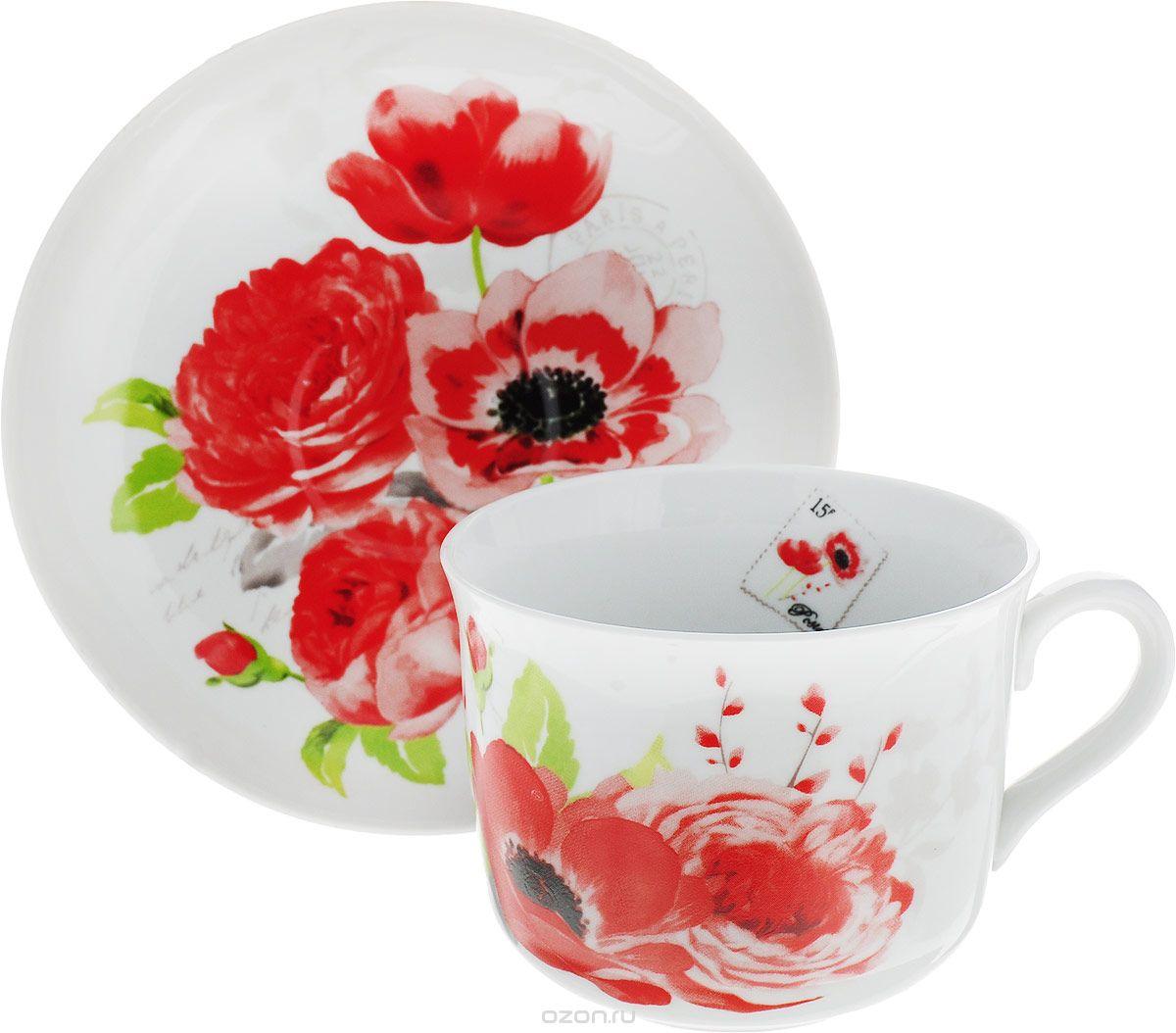 """Чашка чайная Дулево """"Ностальгия. Красные цветы"""", с блюдцем, 450 мл"""