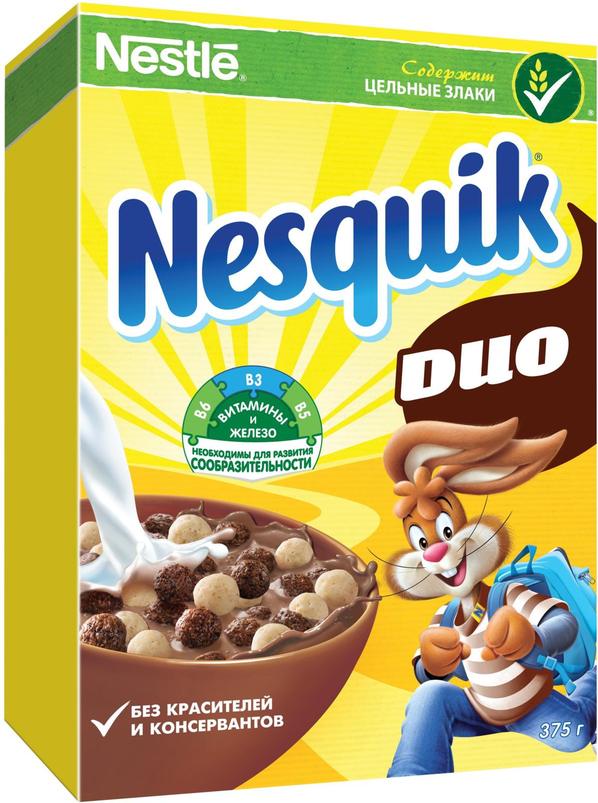 Nestle Nesquik Шоколадные шарики DUO готовый завтрак, 375 г шоколадный батончик nesquik 43г