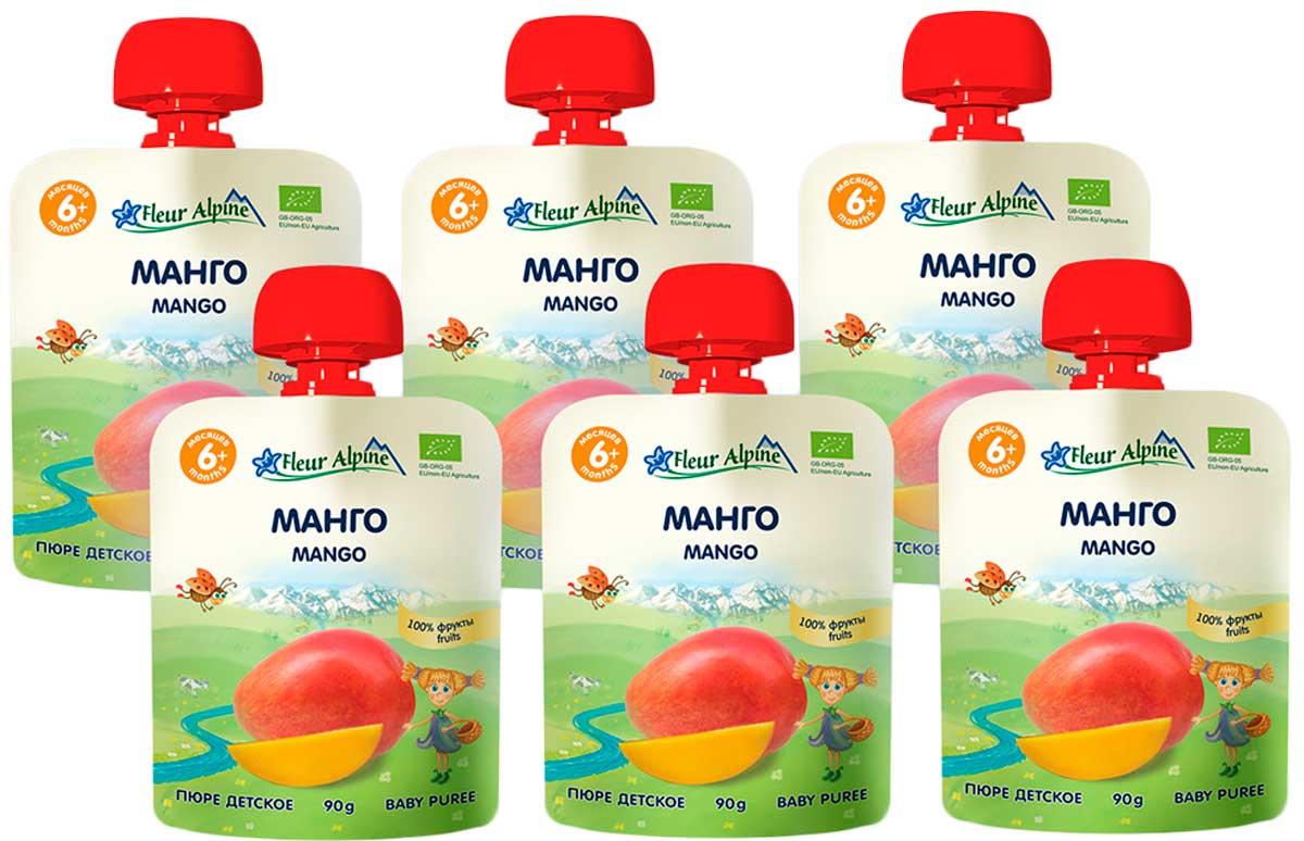 Флёр Альпин Органик пюре манго, 6 мес., 90г, 6 шт