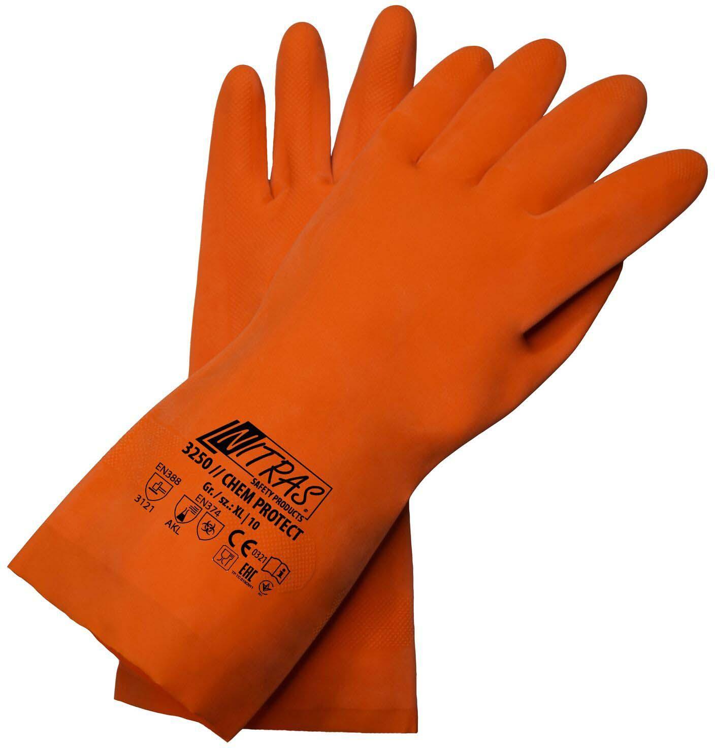 Перчатки хозяйственные Nitras, латексные, цвет: оранжевый. Размер 10 (XL)