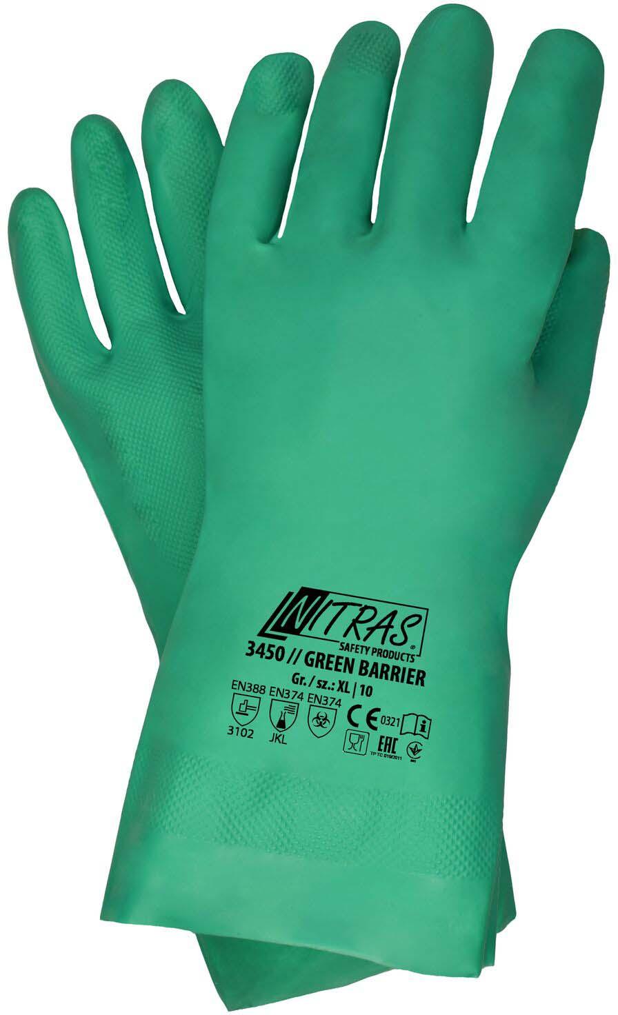 Перчатки хозяйственные Nitras, нитриловые, зеленый, размер 9 (L)