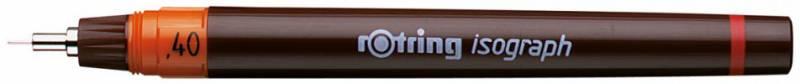 Изограф пластиковый Rotring съемный пишущий узел, заправка тушью, цвет: бордовый, 0.4мм