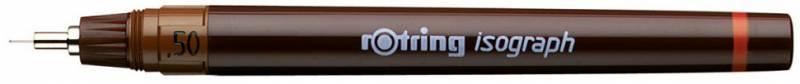 Изограф пластиковый Rotring съемный пишущий узел, заправка тушью, цвет: бордовый, 0.5 мм изограф rotring 1903399 0 3мм корпус бордовый пластик съемный пишущий узел заправка тушь