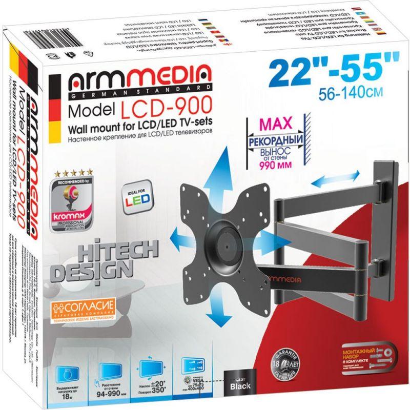 цены на Кронштейн для телевизора Arm Media LCD-900, цвет: черный  в интернет-магазинах