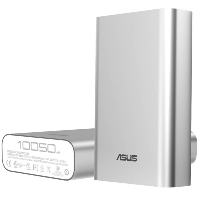 Мобильный аккумулятор Asus ZenPower ABTU005 Li-Ion 10050mAh, 2.4A, 1xUSB, 90AC00P0-BBT077/027, серебристый аккумулятор asus zenpower ultra 20100mah silver 90ac00m0 bbt020