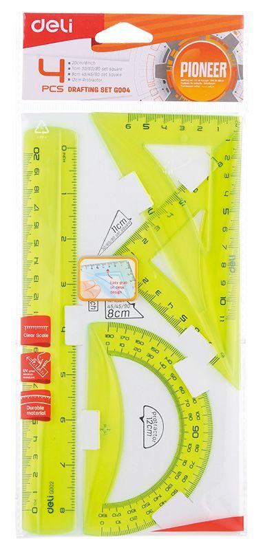 Геометрический набор Deli Pioneer, 4 предмета. 1028969 линейка deli pioneer eg00112 пластик дл 15см прозрачный градуировка уф чернила европодвес