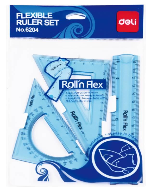 Набор линеек Deli E6204, цвет: голубой/прозрачный, 2 шт набор silwerhof 160151 пластик прозрачный компл лин 15см угольн 30х11см угольн 45х8см трансп 180 24 шт кор
