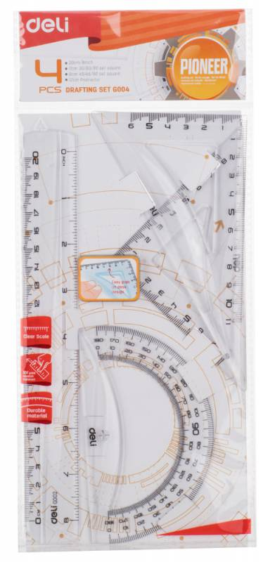 Набор линеек Deli Pioneer, пластик, цвет: прозрачный, линейка 20см/треугольник 2шт./транспортир линейка deli pioneer eg00112 пластик дл 15см прозрачный градуировка уф чернила европодвес