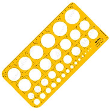 Шаблон чертежный Rotring S0221691, пластик, цвет: желтый, прозрачный, 255x129x1.6мм