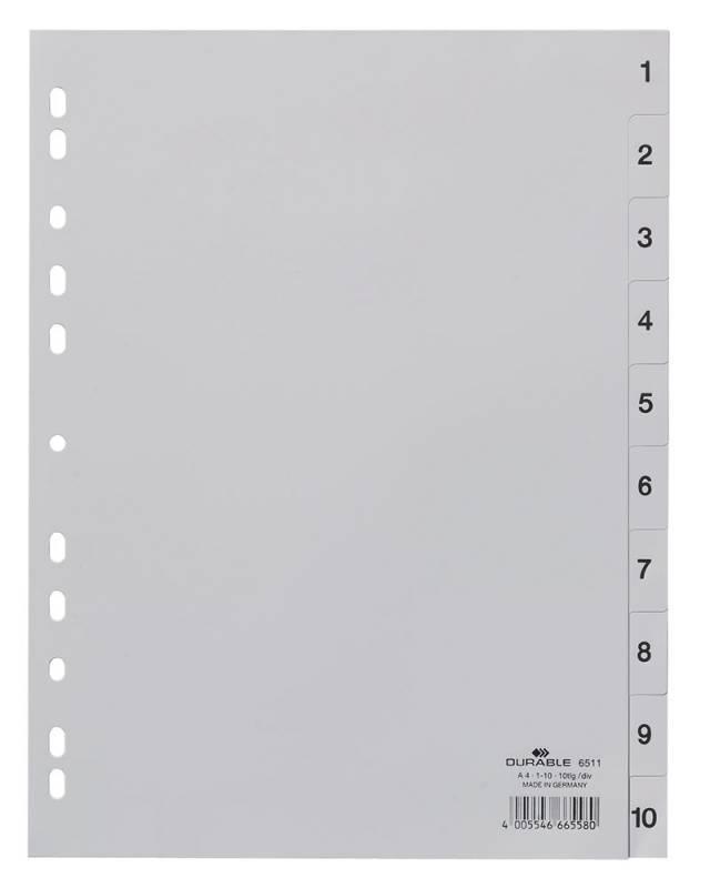 Разделитель индексный Durable 6511-10, 828811, 1-10, A4